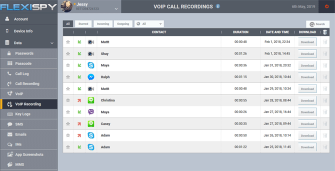 call recording screen